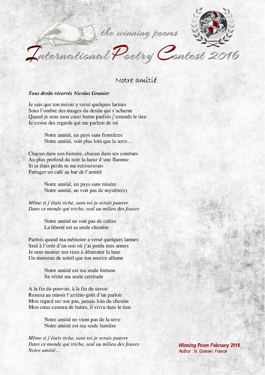 Poemes Gagnants Fevrier 2016 Organisation Internationale Iowdok