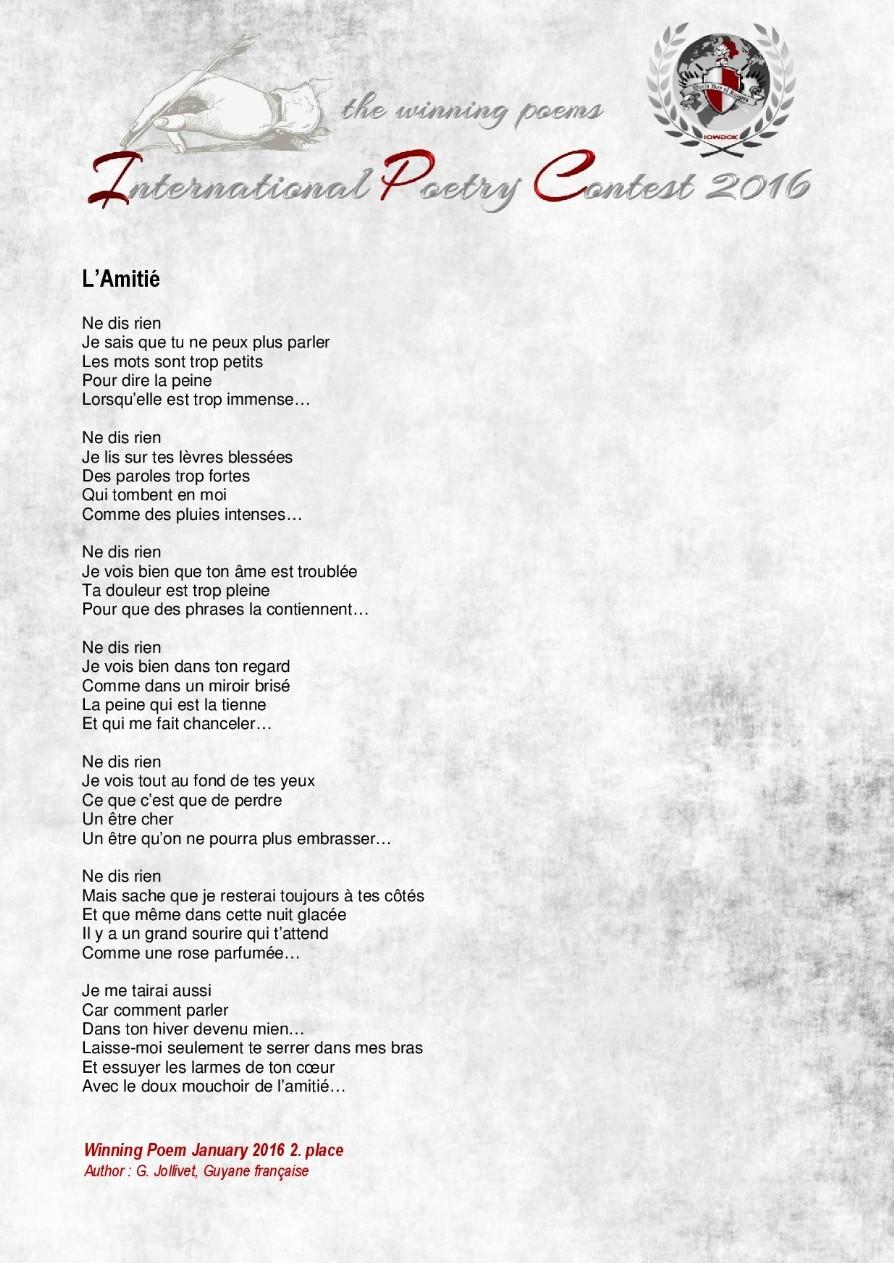 Poemes Gagnants Janvier 2016 Organisation Internationale