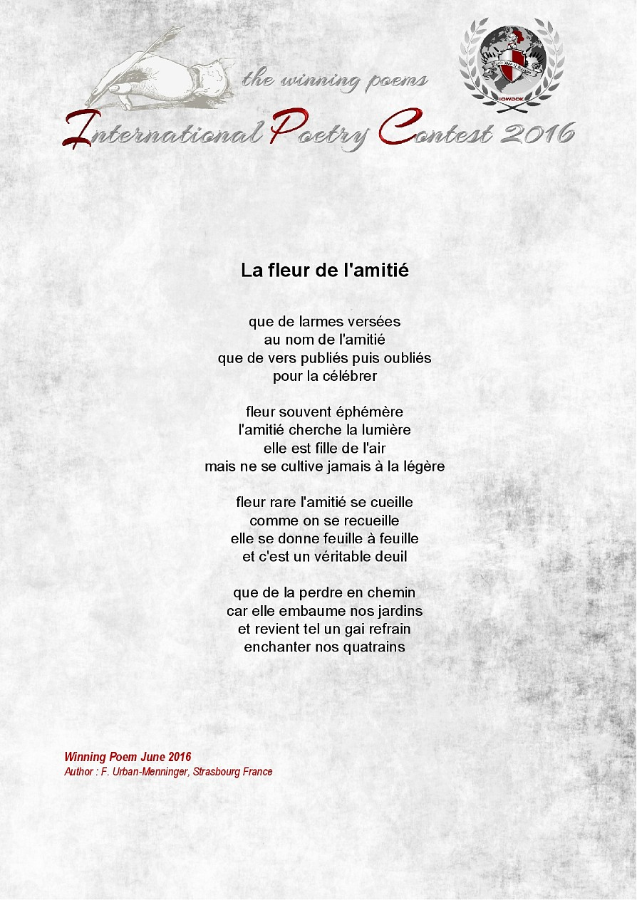 Poemes Gagnants Juin 2016 Organisation Internationale