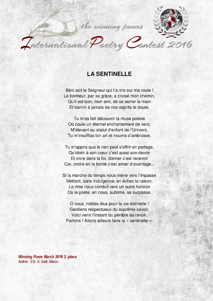 Poemes Gagnants Mars 2016 Organisation Internationale