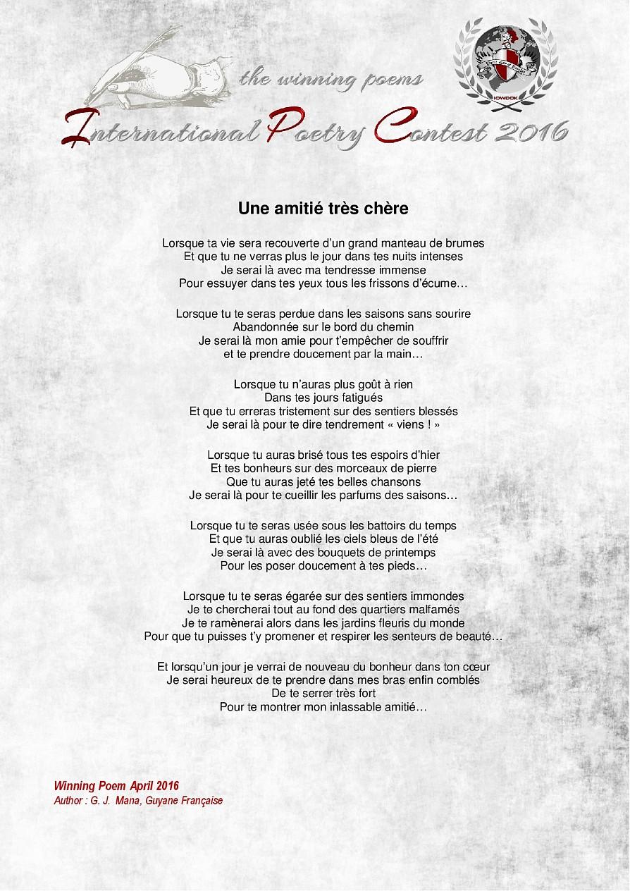 Winning Poems April 2016 Contest Edition 2016 Iowdok